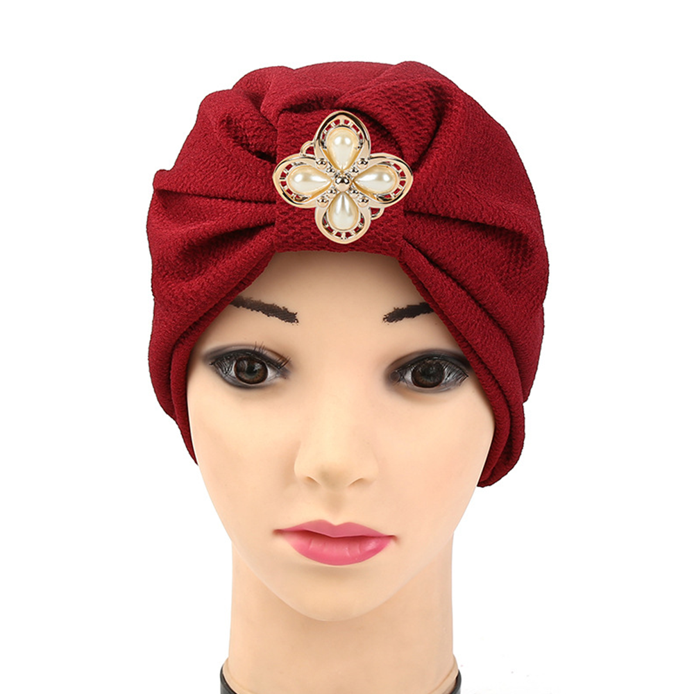 Zakiyyah C-1 New Arrival Fashion Style Muslim Hats Elegant Cap Design with Pearl Decoration in th Front Cotton Vietnamese Hats