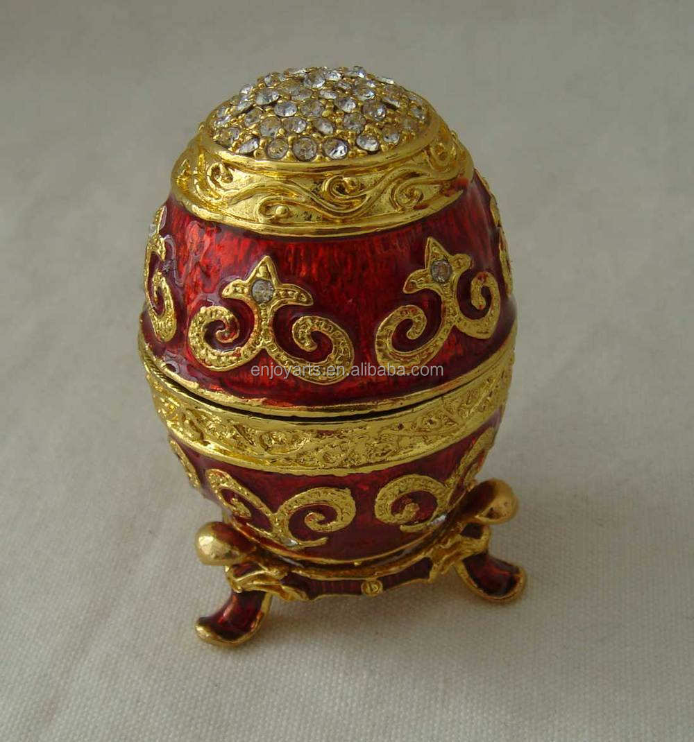 Hand Enamel Crystals Jeweled Faberge Egg Metal Trinket Box(P05073d)