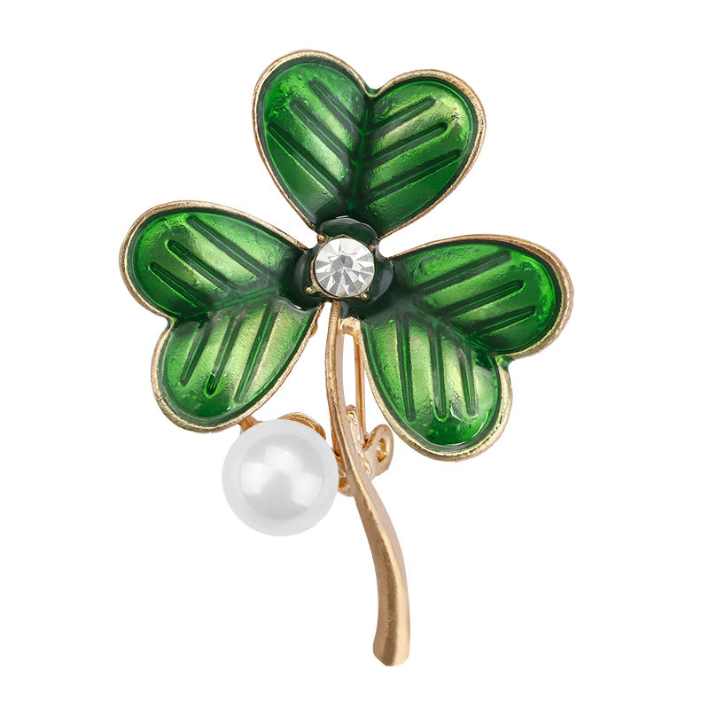 Crystal Clover Lucky Grass Pearl Brooches for Women Enamel Pins Fashion Jewelry Plant Style Pearl Rhinestone Flower Brooches