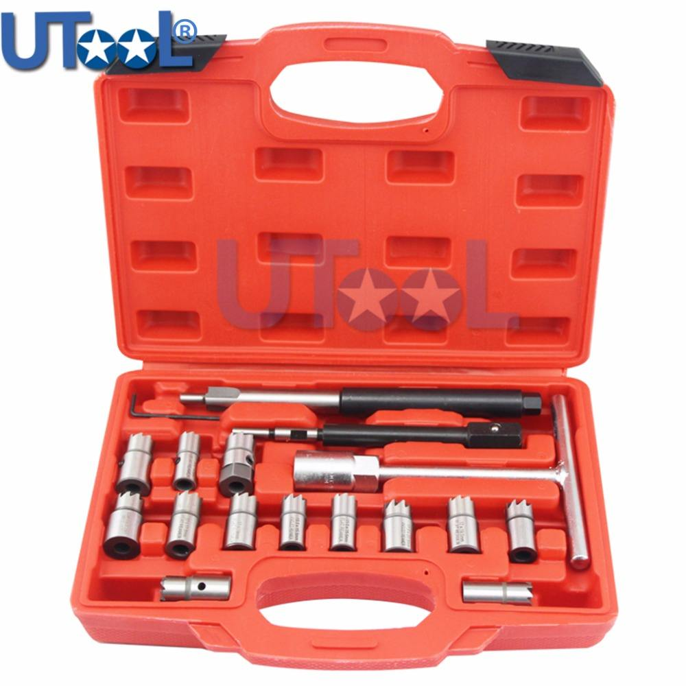 17PCS Diesel Injector Seat Cutter Cleaner Tool Set Carbon Remover Auto Repair Tool