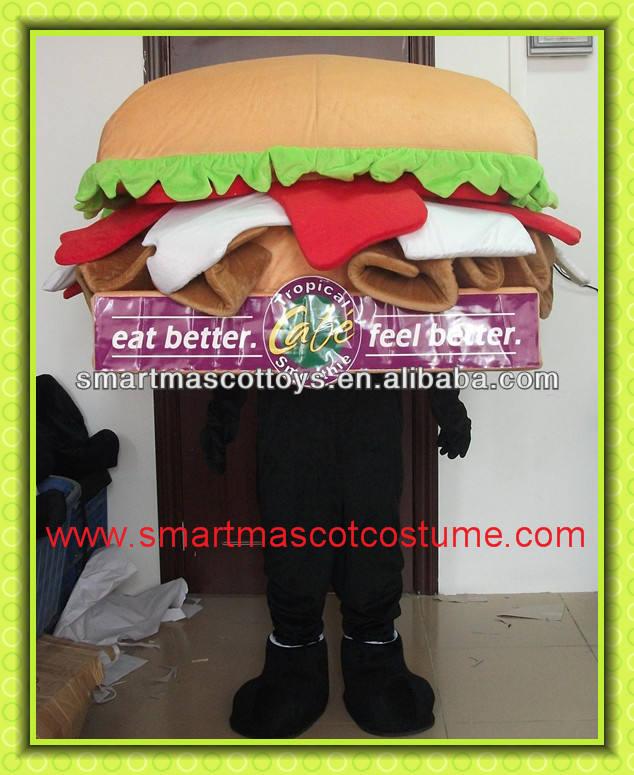2014 caliente de la venta de hamburguesas traje de la mascota/adulto disfraz de hamburguesa