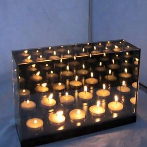 Grey Smoked Glass Infinity Light Cube Tealight Candle Holder
