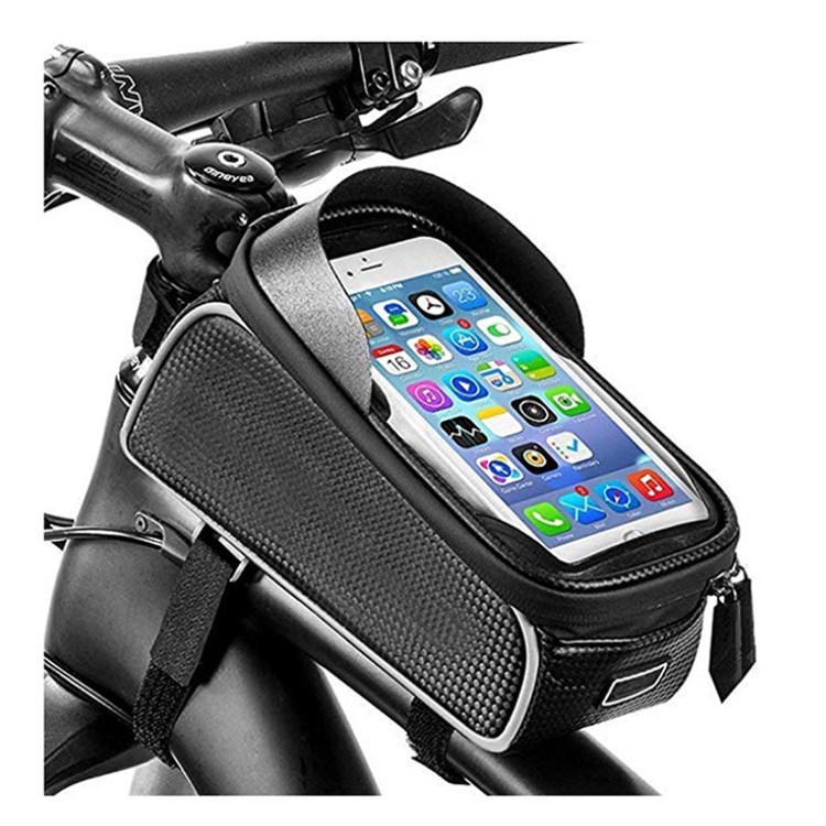 Waterproof Bicycle Pannier Seat Bag Bike Front Tube Handlebar Bag with Touch Screen Phone Case