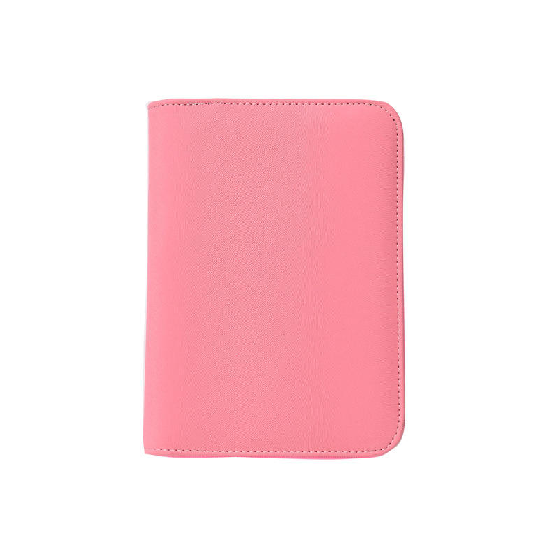 Leather notepad zipper closure 3 rings with Inserted NotePad