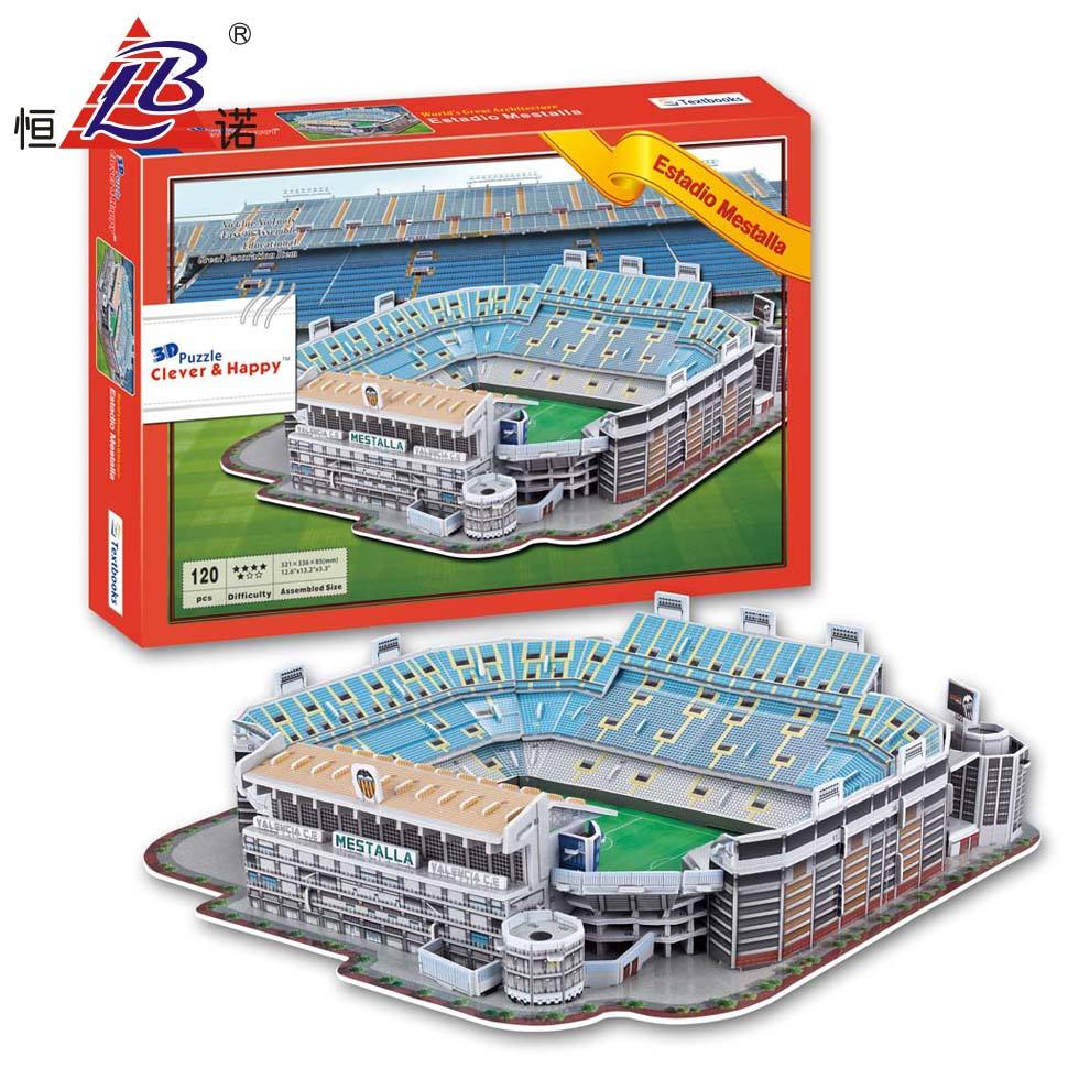 Estadio De Mestalla 3D Puzzle Make Football Model Stadium Kits With CD