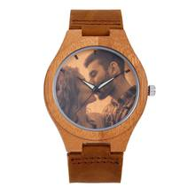 REDEAR Personalized Custom Watch Photo Printing Natural Bamboo Wooden Watch Engraving Picture Leather Band Unique Quartz Watches