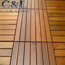 Oiled prefinished interlocking system DIY Burma teak solid wood decking tiles