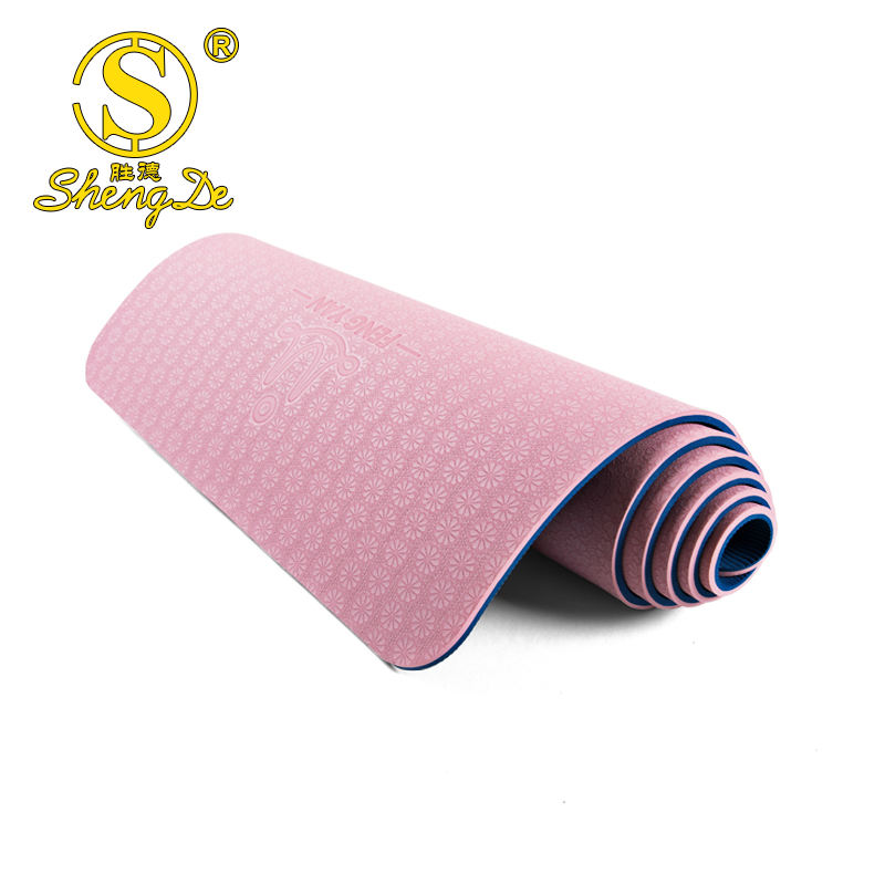double side anti-slip texture TPE environmental material yoga matt with net bag