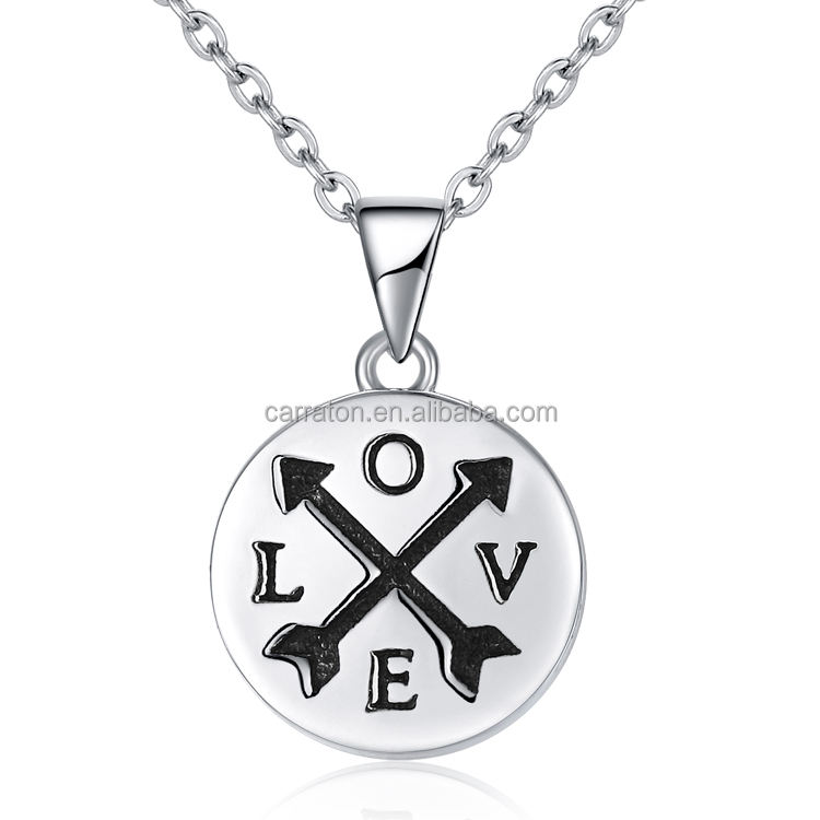 Engraved Lettering Fashionable 925 Sterling Silver Antique Circle Love Arrow Symbol Pendant Necklace