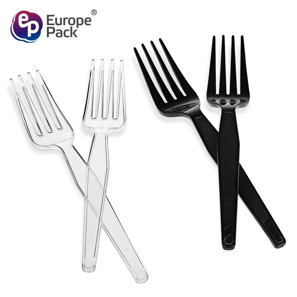 New arrival food grade disposable clear 7 inch plastic salad fruit dessert forks
