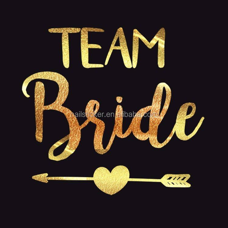 Custom team bride tribe gold onion powder metal body sticker temporary tattoo