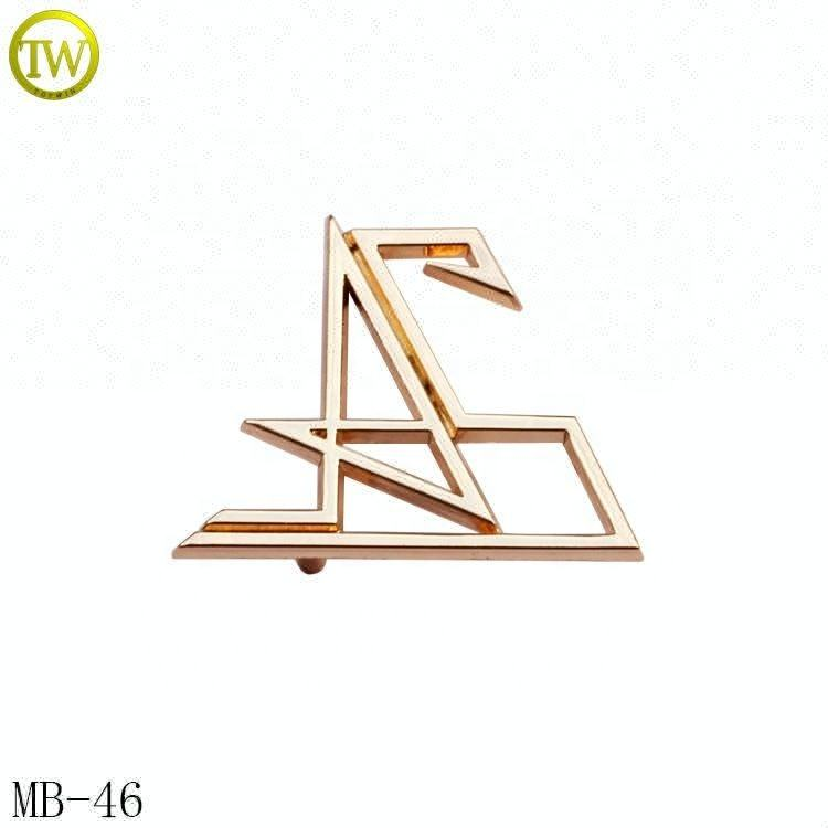 Hollow gold handbag metal letter plate embossed logo tag label with washer