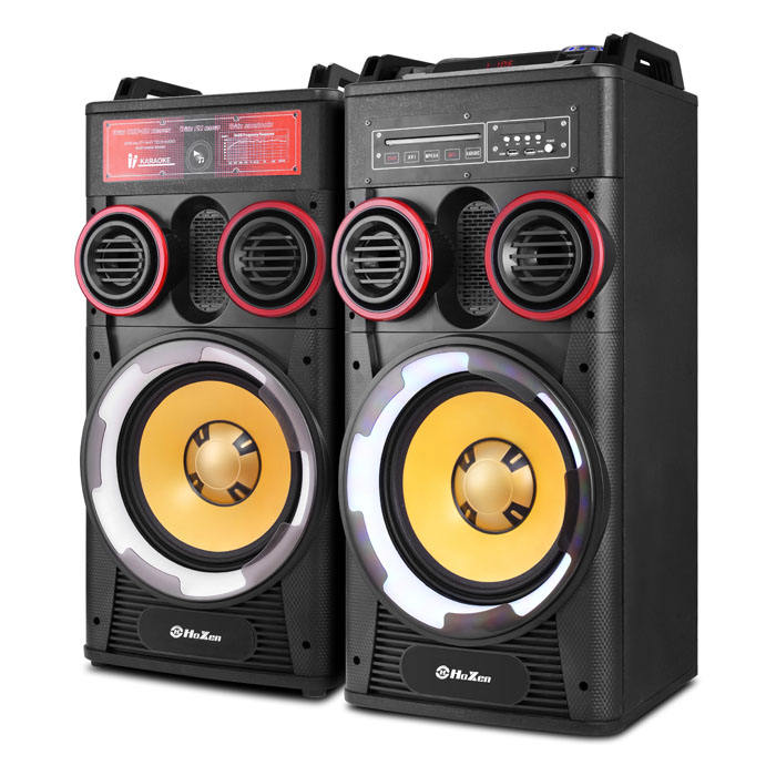 2.0 Double 12 inch dvd active karaoke wooden stage subwoofer speaker with DJ sound console