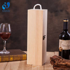 WanuoCraft Unfinished Blank Pine Wood Single Wine Bottle Packing Box Wooden Gift Package Storage Box
