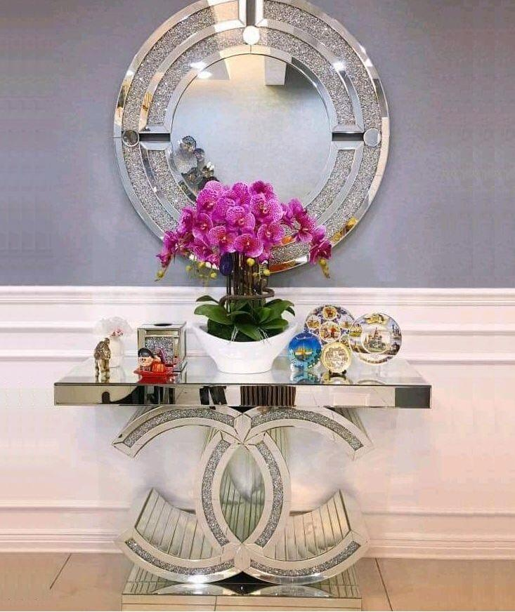 2020 mirrored CC console table crushed diamond hallway table for home hotel