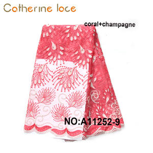 Catherine 2018 Hot Koop Indian Fashion Geborduurde Afrikaanse Kant Stof