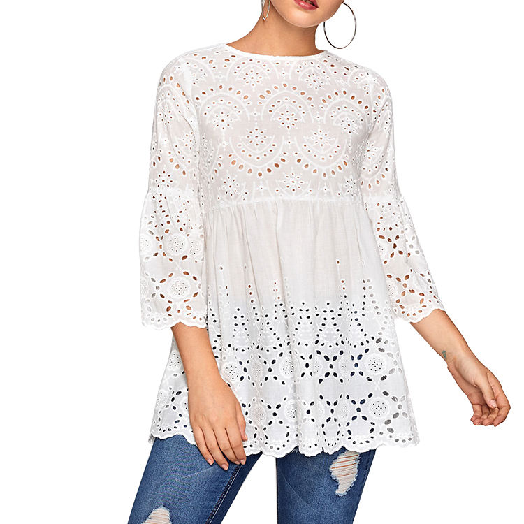 Ladies Tops Latest Design Eyelet Embroidered Scallop Trim Smock Umbrella Blouse