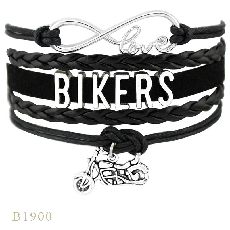 Biker Chick Live to Ride Cycling Bikers Heart Love Motorcycle Motorbike Charm Leather Wrap Bracelets for Women