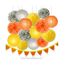UMISS PAPER Fall Party Decorations Thanksgiving Autumn Harvest Decorations Hanging Tissue Paper Pom Poms Paper Lanterns