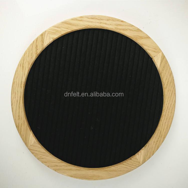 12x12 Double Sided Reversible Round Circle Felt Letter Board White Oak Frame Let