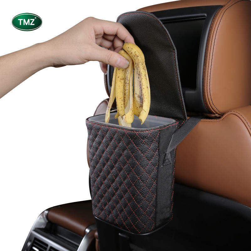 Car accessories interior decorative trash can garbage bag storage box back seat garbage bins hanging trash bin for car trash bag