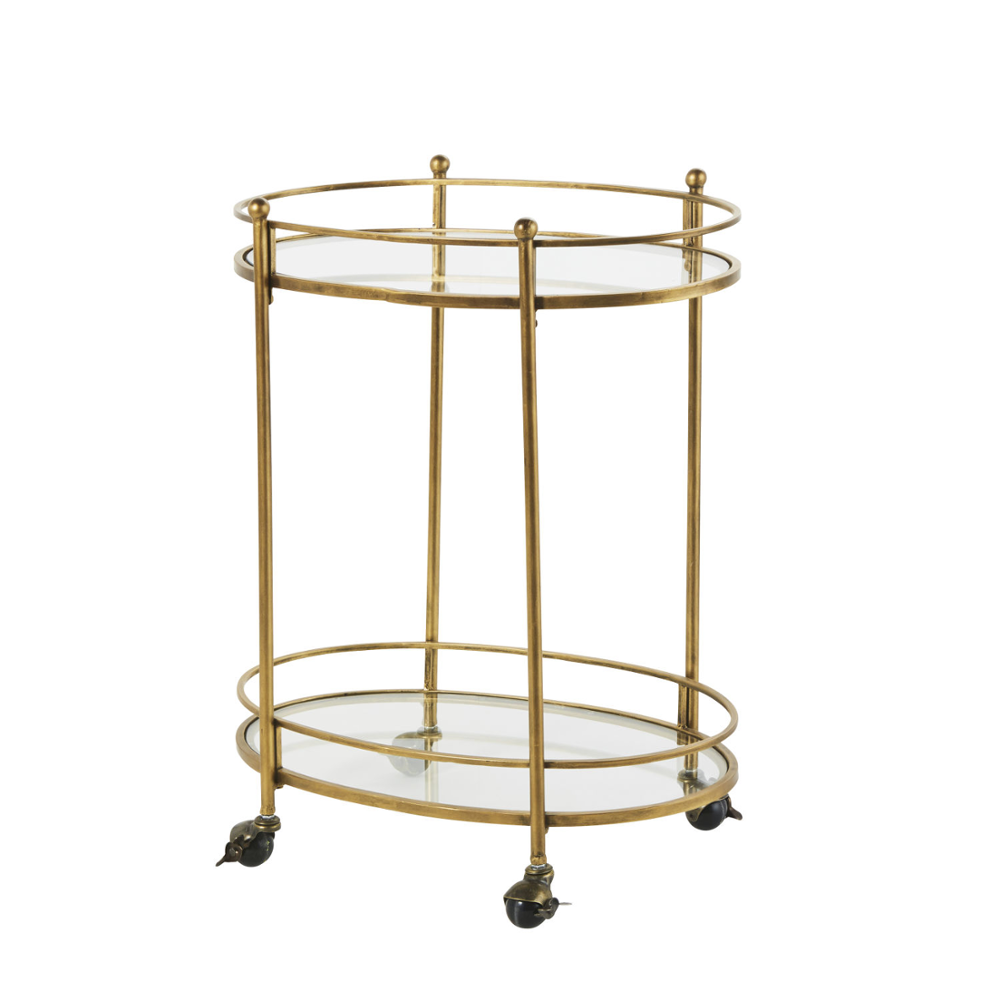 Luxurious Elegant Mirrored Top And Metal Gold Serving Trolley /Bar Cart With Lockable Casters