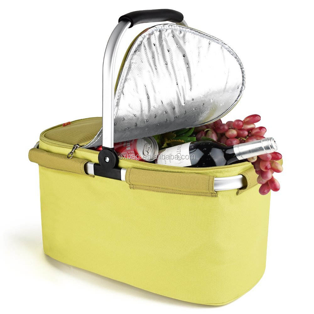 Large Size Insulated Cooler Bag Folding Collapsible 22L Custom Picnic Basket Cooler with Sewn in Frame