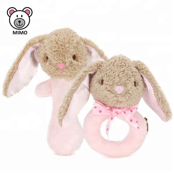 Animal Hand Bells Soft Plush Pink Rabbit Baby Rattle Gift Set OEM Custom Cute Long Ears Plush Bunny Baby Rattle Teether Toy Set