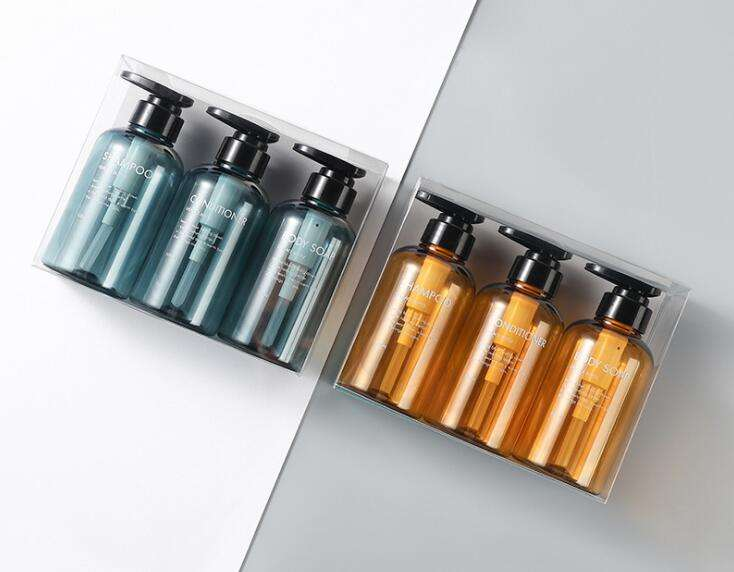 Ready to Ship 300ml 500ml 3pcs/set Hotel Shampoo / Conditioner / Shower Gel Pump Bottle