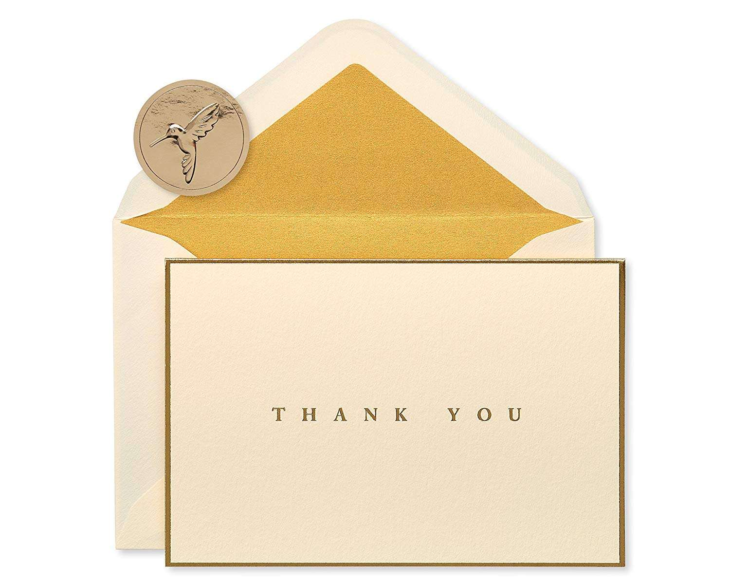 Custom Personalised Pack Gold Foil Greeting Business Thank You Card with Envelopes and Logo, Thank You for Shopping Card