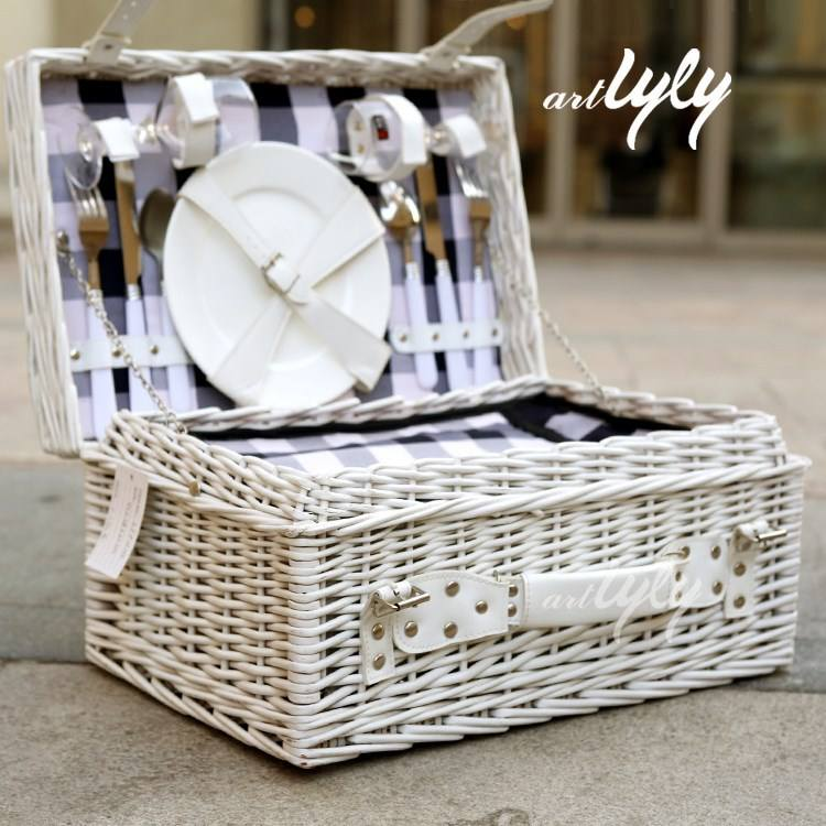 factory supply cooler bag white wicker willow rattan food fruit display storage 4 person picnic basket