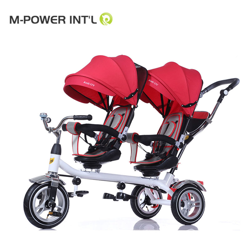2019 Wholesale Double Seats Folding 3 Wheels bike Tricycle for Twins Bicycle Stroller
