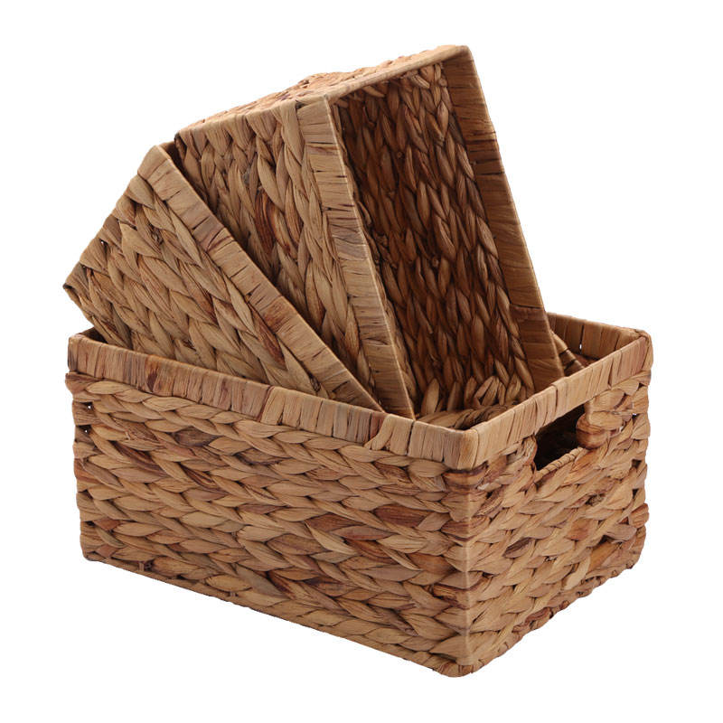 Wholesale china supplier Amazon top seller handmade rectangular water hyacinth storage basket straw woven basket with handle
