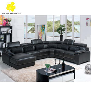 BAOCHI black leather sectional sofa couch 953#
