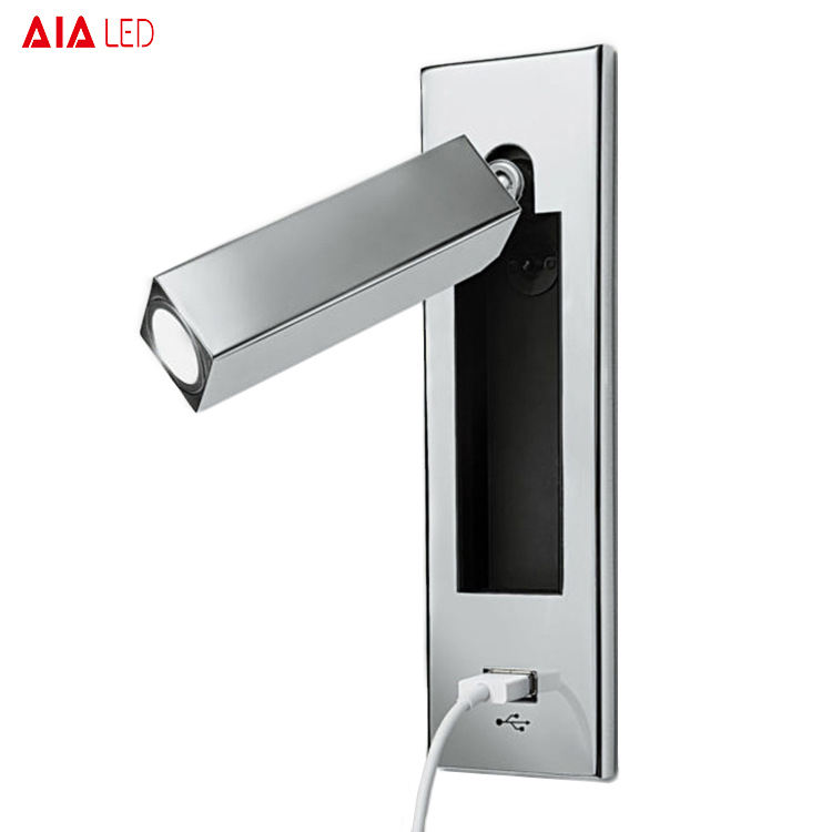 Modern recessed mounted hotel flexible USB bedside wall light 3W led headboard wall light led bed reading lamp