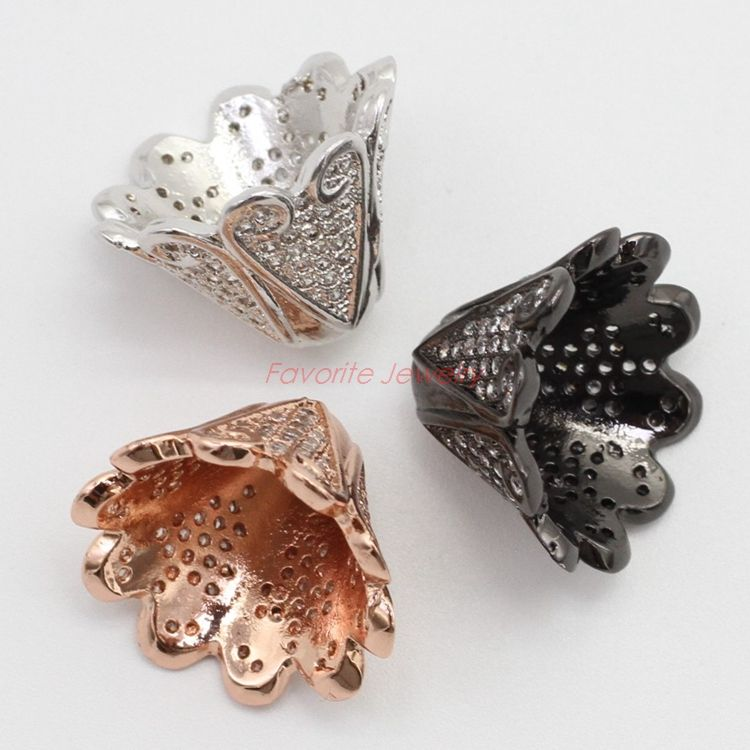 Fashion fine horn shape jewelry brass CZ micro jewelry beads and findings with three colors