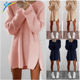 china wholesale autumn winter sweater dress long sleeve casual loose dress with zipper