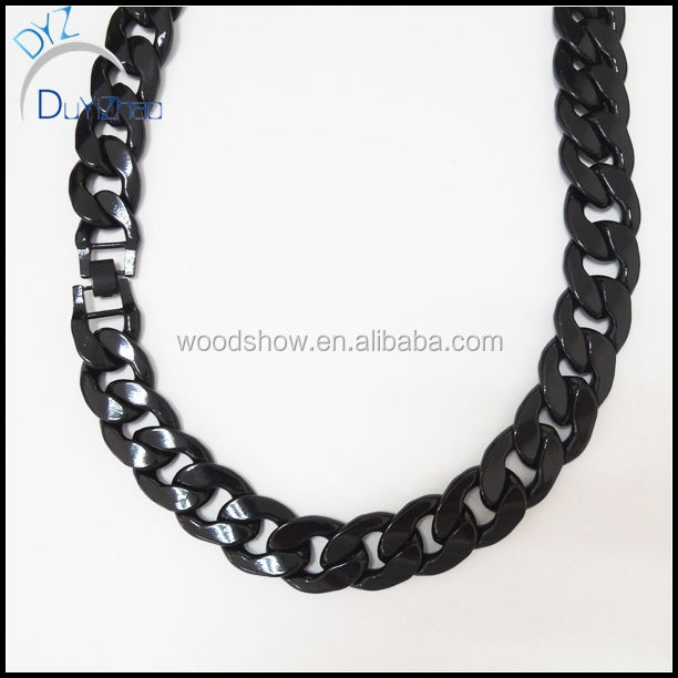 Iron heavy mens black cuban link chain necklace