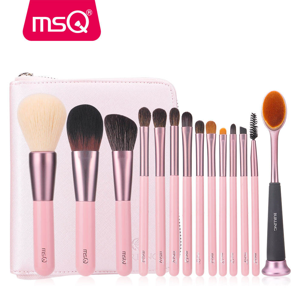 MSQ 14 pcs wholesale Make 브러쉬 분말 Contour 아이 섀도우로 rose pink 나무 handle natural synthetic hair brush set