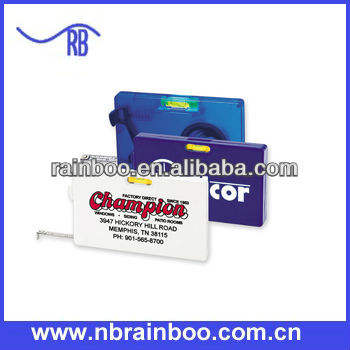 2013 Hot selling top qanlity plastic rectangular shape level measuring tape for promotion