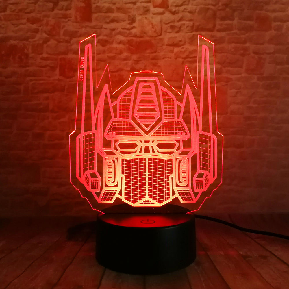 Creative 3D Knight Trans Figure Optimus Prime Transformers 7 Color Change Led Night Light Fans Man Boys Holiday Xmas Child Gifts