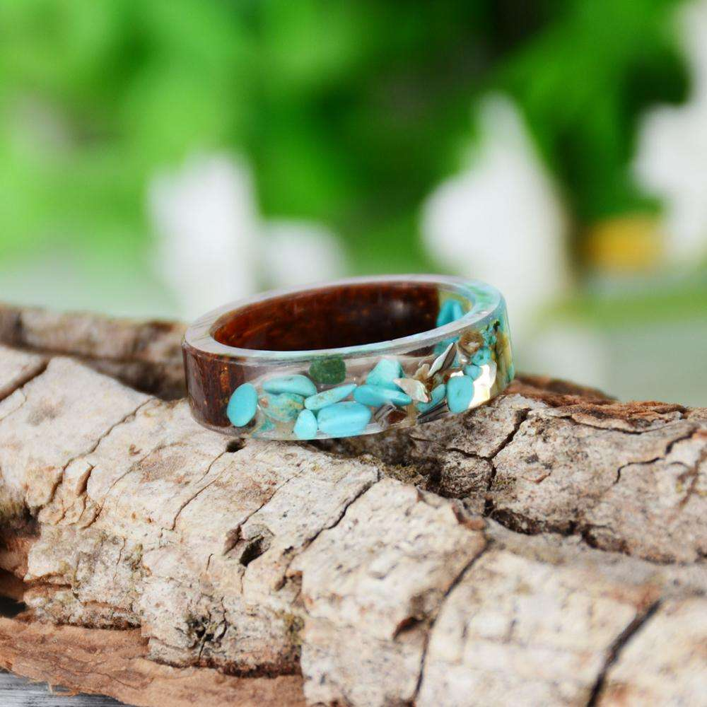 2019 New Design Natural Wood Resin Ring For Women Jewelry