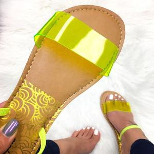 2019 Two ways to Wear Flat Slides Candy Color Large Size Sexy Slide Sandal Transparent Clear PVC Women Slides Sandals