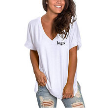 Custom Plain Womens Short Sleeve V Neck Loose Casual Wear Bamboo Slub Cotton Tee T Shirt For Women
