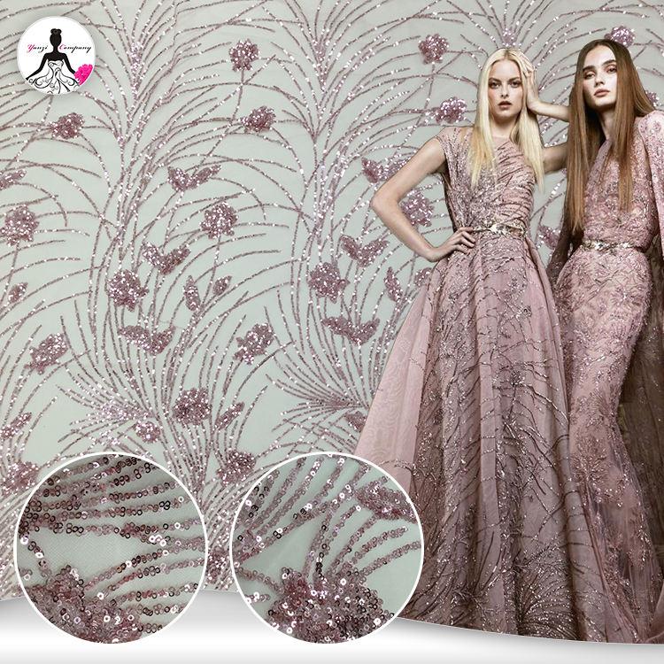 Fashion lady parti 100% nylon tulle sequin broderie français tissu dentelle brodée