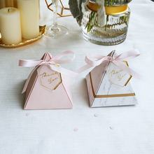 Marble wedding souvenir candy box favor paper packaging box with ribbon