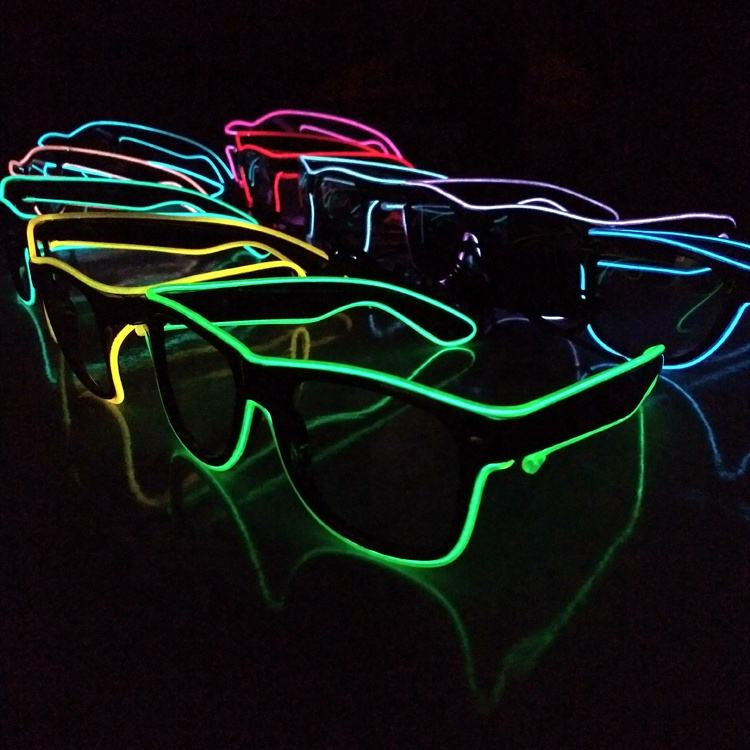 Fashion Concert Night Clubs Flashing Neon Glow In The Dark LED Wire El Party Glasses