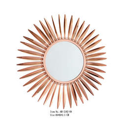 Rose Gold Decor Sun Round Wall Metal Mirror