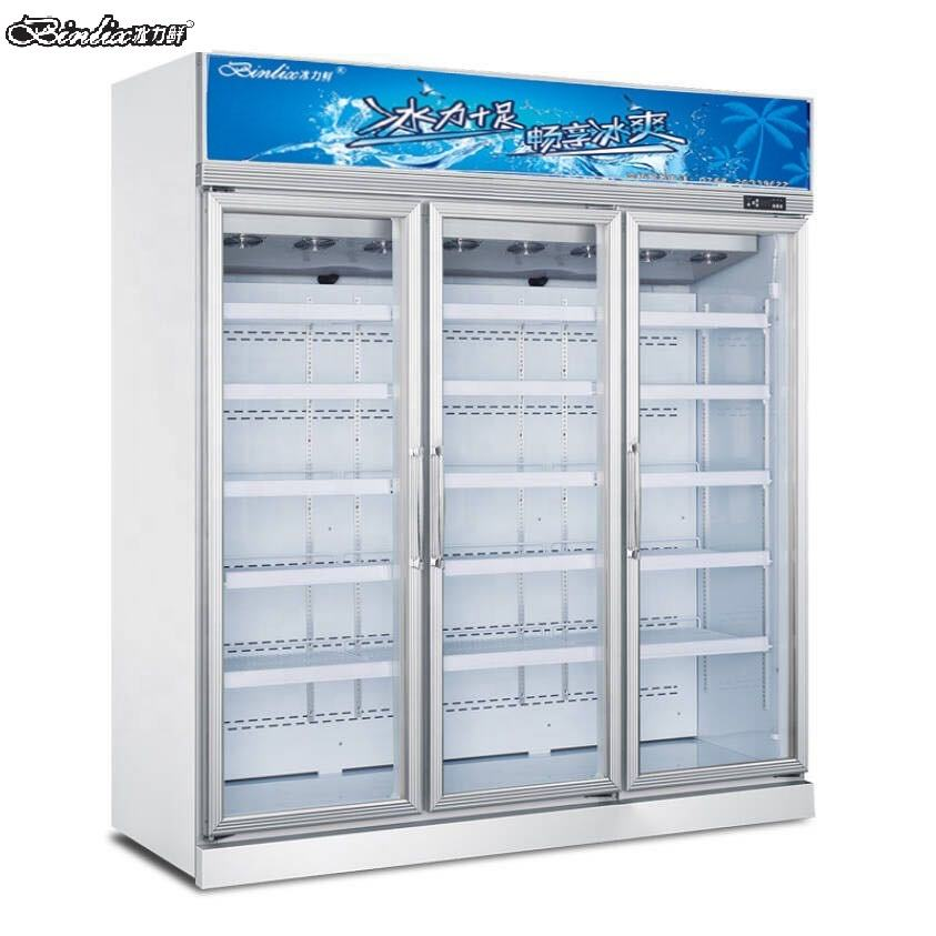 Supermarket meet beef icecream display 3 glass door upright freezer -18 degrees centigrade