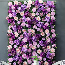 Latest Design Customized Mixed Purple Color Roll Up Flower Wall Backdrop with Green Leaves Foliage for Wedding Home Decor